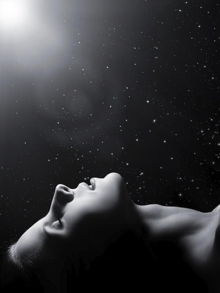 sensual sleeping woman profile on black background? monochrome